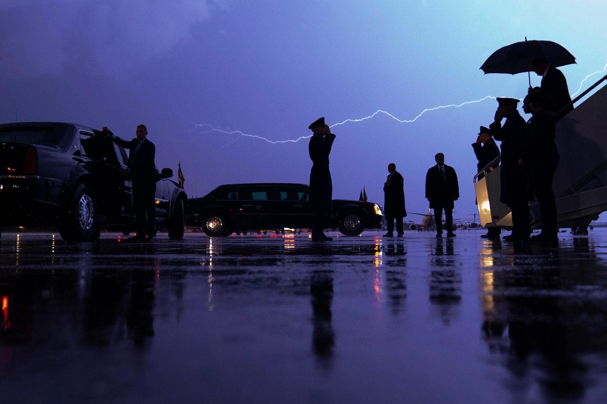 Lightning streaks across the sky as President Donald Trump arrives at Andrews Air Force Base, Maryland, on Aug. 28, 2020.